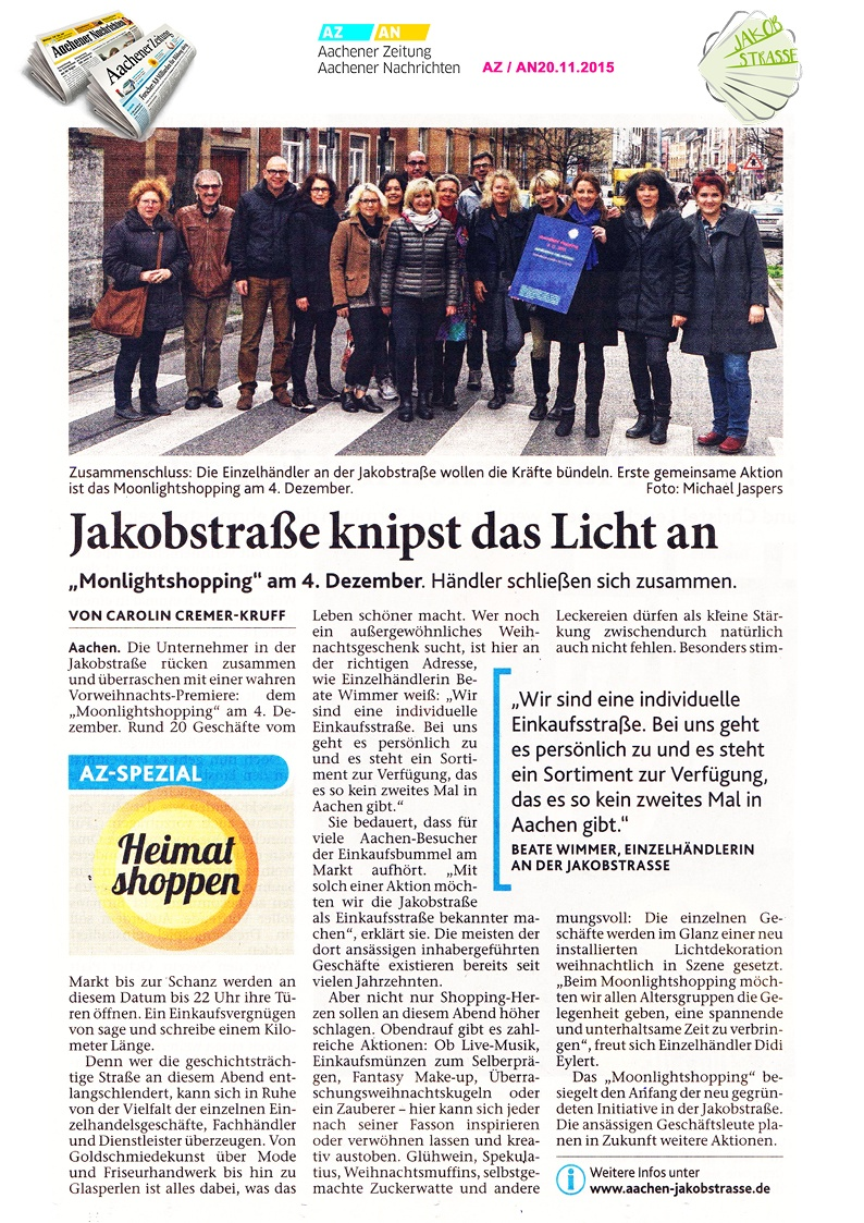 Jakobstraße in Aachener Zeitung 20.11.2015