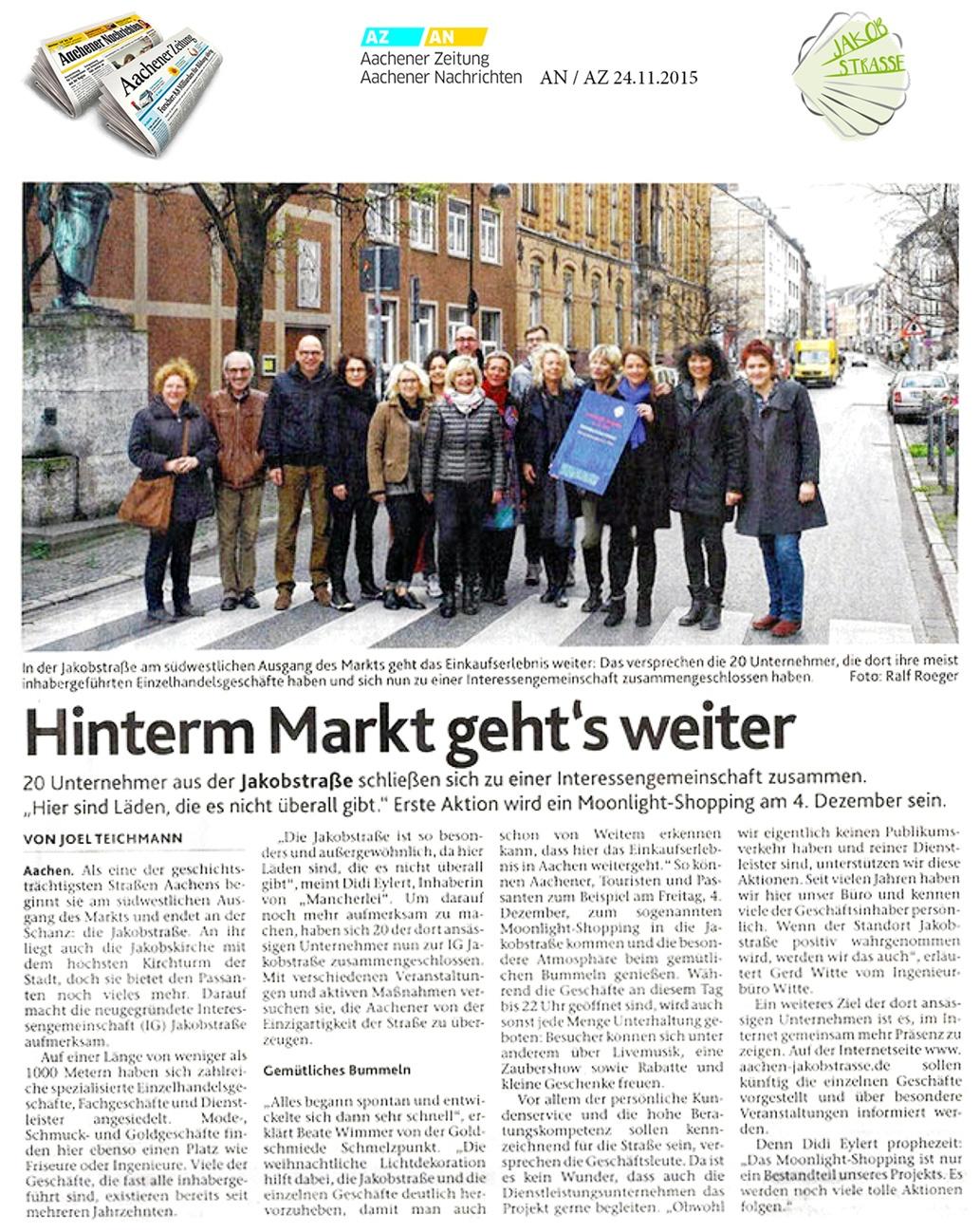 Jakobstraße in Aachener Nachrichten 24.11.2015